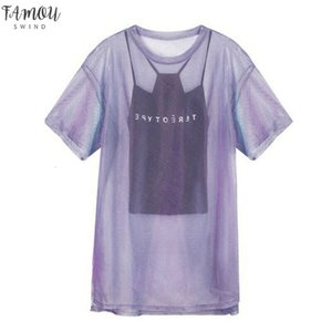 Trendy Women Transparent Mesh T Shirt Short Sleeve Tee Cover Up Camisole Vest Top Female Casual Summer Tops Outfits