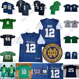 Personalizado Notre Dame Fighting Irish Football Jersey NCAA Joe Montana Rudy Ruettiger Ian Livro Tony Jones Jr. Javon McKinley Finke Kareem