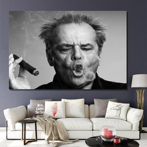 Jack Nicholson Cigar Poster Wall Art Print Picture Black and white Canvas Painting for Living Room Modern Home Decoration