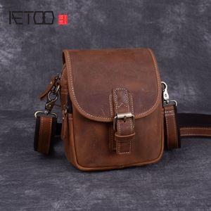 AETOO Mad horse leather men's bag, male leather bag, cowhide slant mini carry-on handmade men's single shoulder bag