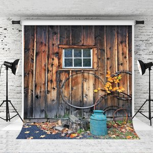Dream 5x7ft Retro Wood Window Photography Backdrop Yellow Leaves Decor Wooden Wall Background for Photographer Portrait Photo Shoot Studio