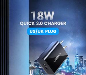 Горячий деталь быстрая обязанность 3.0 QC 18W US UK USB зарядное устройство QC3. 0 быстрое зарядное устройство для Samsung s10 Xiaomi iPhone Huawei зарядное устройство для мобильного телефона
