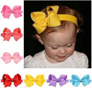 Elastics Hair Headbands Solid Bowknot Ribbon Bows for Kids Headband Hair Wrap Hairband Headwear Girls Hair Accessories 608