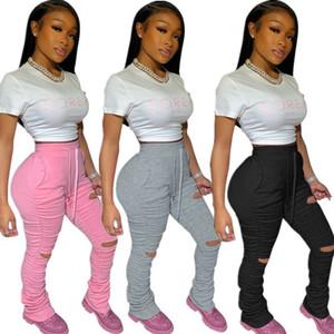 Jogginghose Frauen Flare Pants Damen Stacked Jogger gefalteter hohe Taillen-Hosen Split Bell-Bottom-Bleistift-Hosen Weiblich 2020