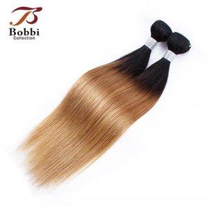 B Brazilian Virgin Hair Weave Bundles Straight Ombre Honey Blonde Color 1b 27 Two Tone 1 Bundle 10 -24 Inch Remy Human Hair Extensions
