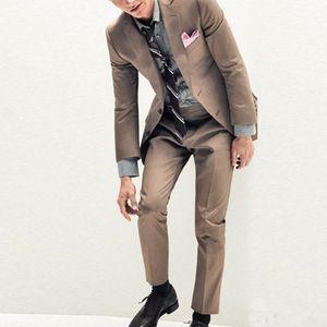 Khaki Men Suits for Wedding Business Suits Groom Wear Custom Made Tuxedo Slim Fit Best Man Blazer 2Piece Jacket Pants Casual