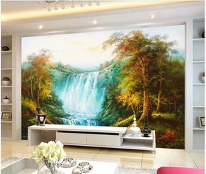 beautiful scenery of the waterfall woods European style hand-painted landscape background wall painting 3d wallpapers