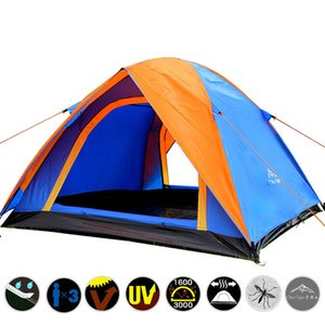 Top Quality 3-4 Person Double Layer Camping Tent All Weather Rainproof Double Door Outdoor Tent for Camping Party 200x180x140cm T191001