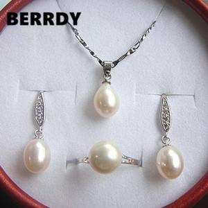 Natürliche Perlenschmuck Set Hot Braut Hochzeit Schmuck Set Halskette Ohrringe Ring Set für Frauen