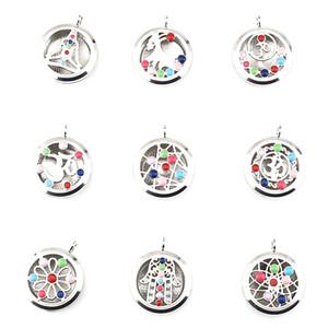 Ciondoli in argento smaltato con perle da 8 mm - Nove stili diversi Round Yoga OM con pendenti con magnete galleggiante a medaglione