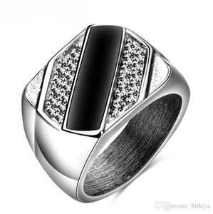 Fashion Silver And Black Men Finger Rings Crystals 2019 New Jewelry Rings Accessories Size 6-11