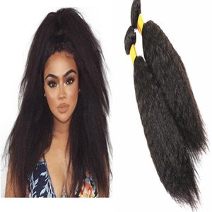 H A Kinky Straight Hair Extensions 100g  Bundle Brazilian Peruvian Malaysian 100 %Human Hair Bundles Natural Color 8 -28 Inches