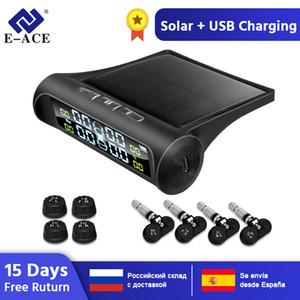 E-ACE Güneş Enerjisi TPMS Araç Lastik Basıncı Alarmı Monitör Sistemi Oto Güvenlik Alarm Sistemleri Lastik Basıncı Sıcaklık Uyarısı