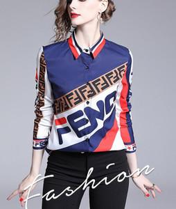 Pista nuevo estilo Carta de rayas camisa de la impresión mujeres del resorte de la caída de la solapa del cuello blusas de señora de la oficina de negocios atractivo delgado de manga larga Camisas Tops