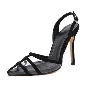 MeiLiKeLin Sexy fermé Pointu clair sandales à dames Party Chaussures femmes Talons cheville boucle talon mince Pumps Sandales Y200323