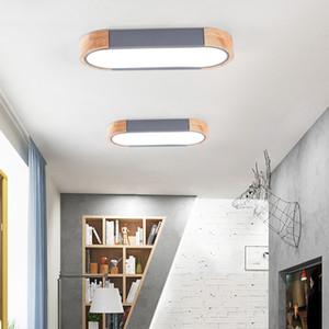 Nordic Macaron de madera lámparas de techo LED de techo Sala de estar Estudio pasillo de la cocina del rectángulo de color de la lámpara del Hierro nórdica japonesa RW267