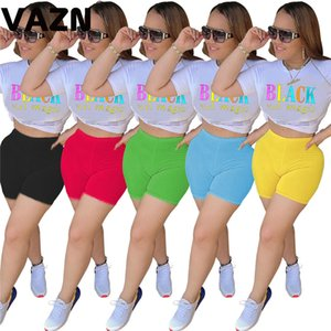 wholesale Hot sale 2020 summer sexy lady 5 colors short set white letters T shirt tees skinny shorts set young girl popular chic sets