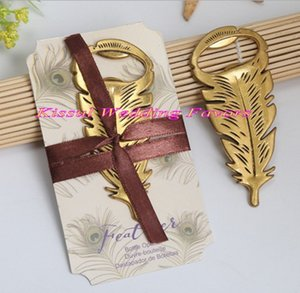 (10 Pcs lot) Creative Wedding and Party decoration favors of Gilded Gold Feather Bottle Opener gift for wedding and event and Party gifts