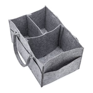 New Felt Storage Bag Grey Folding Cosmetic bag Clothing Sundry Diapers storage bag OEM Free shipping