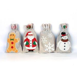 Рождество белье Drawstring Подарки сумка Санта-Клаус снеговика Burlap чехол для хранения Xmas Tree Дети конфеты сумка для дня рождения партии 6 Стиль M671