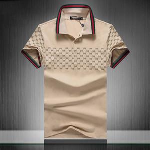 2019 de Verão da marca de roupa de luxo Designer Polos Homens Casual Polo Moda Cobra Abelha Imprimir Bordados T Shirt High Street Mens Polo