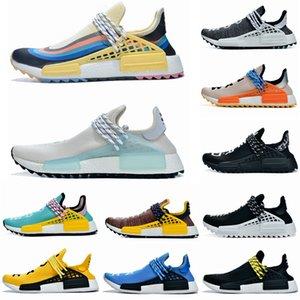2019 NMD RAÇA HUMANA Pharrell Williams das Mulheres dos homens Hu trilha Nerd creme preto Holi Pacote Solar Mãe designer Moda Sapatos de Desporto