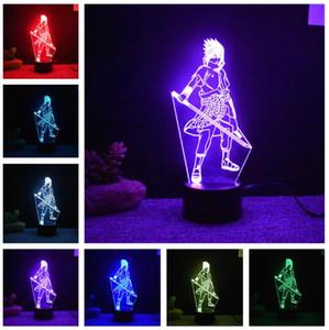 나루토 전설 3D Uchiha 사스케 모델링 테이블 램프 애니메이션 가전 전등기구 아이들 잠 침실 사이드 라이트 소년 침실 장식 선물