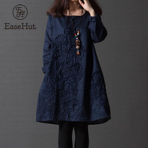 Abito EaseHut Retro primavera-estate 2020 Elegante Nazionale manicotto di Applique Vestito lungo Mori ragazze di un pezzo Dress Plus Size Abiti
