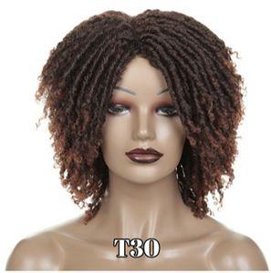 Yumuşak Kısa Sentetik Peruk İçin Siyah Kadınlar Yüksek Sıcaklık Elyaf Dreadlock Ombre Kahve Kahverengi Tığ Saç Peruk çevirin