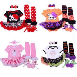 Yenidoğan Kızlar Romper Suit 10 Renk Bebek Bebek Cadılar Bayramı Teması Giyim Çocuk Casual Dantel Bow-Tie Dot TUTU Elbise Kafa Çorap Ayakkabı 06 Set