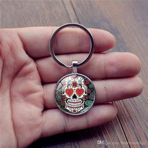 Skeleton time gem cabochon key chain Punk style weird skull pattern key ring Individuality key rings