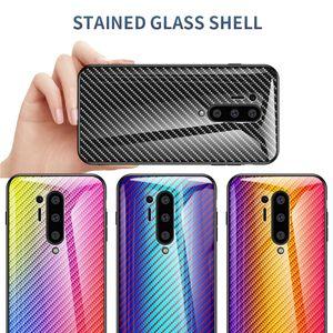 Ultra İnce Karbon Elyaf Gradyan Telefon Kapak İçin OnePlus 8 Pro 7T 7 7 Pro 6T 6 5T 5 Smooth Temperli Kılıf