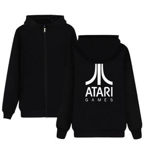 ATARI di Atari stampato Felpa con cappuccio Zipper Cotton Coat Mens cappuccio Felpe con zip appassionati Jacket