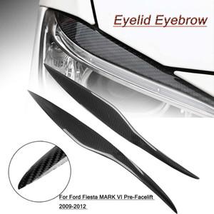 포드 / 피에스타에 대 한 2pcs 자동차 탄소 섬유 눈꺼풀 눈 썹 스티커 헤드 라이트 커버 마크 VI Pre-Facelift 2009-2012