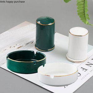 Nordic Toothpick Holder Ceramics Ashtray Toothpick Box Green White Household Storage Bottle Table Decorations and Accessories