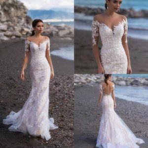 Naviblue 2019 Full Lace Long Sleeves Mermaid Wedding Dresses Appliqued Bridal Gowns Custom Sweep Train Beach Wedding Dress vestido de novia