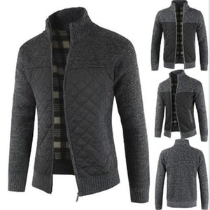 Foreign trade autumn and winter new men's plus velvet thick knitted sweater color matching cardigan knitted jacket coat