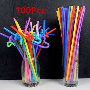 100pcs Bendable Plastic Random Drinking Straws Striped Birthday Wedding Party Dt