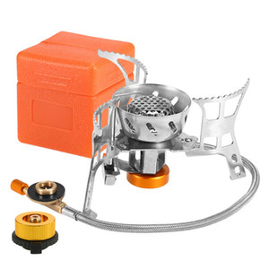 Portable Windproof Camping Gas Stove Outdoor Cooking Stove Foldable Split Burner with Gas Conversion Head Adapter K680G