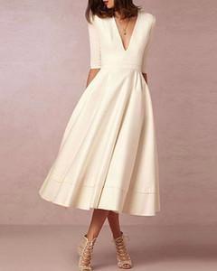 A-Line Wedding Dresses V Neck Tea Length Satin Half Sleeve Casual Vintage Little White Dress 1950s with 3246
