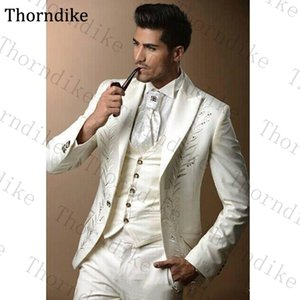 Thorndike Custom Made Men's Suit 3 Pieces Set Groom Tuxedos Wedding Suits for Men Casual Embroidery Prom Suits(Jacket+Pant+Vest)