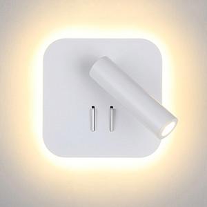 Nordic LED Lâmpada de parede com interruptor 3W spotligh 6W backlight livre rotação Sconce luz da parede interior Para Casa Quarto de cabeceira luz