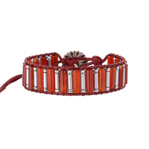 Boho Red Agate Mix Hematite Tube Beads Braided Alloy Wrap Bracelets With Little Daisies Button For Women Holiday Gifts