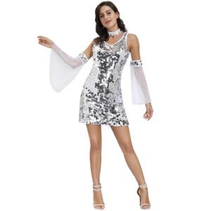 Womens Stage di usura modo di paillettes con pannelli fase sexy V-manicotto mezzo delle donne del vestito da ballo Gonne