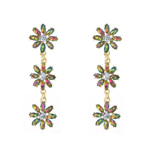 3 Color Small Flower-shaped Stud Earrings with Full Rhinestone Drop Dangle Earrings for Women and Girls Gift