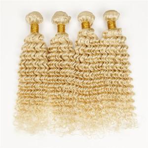 Moda 4 pcs não transformados cabelo humano onda profunda encaracolado máquina dupla trama virgem peruano brasileiro loiro feixes 613 tecer cabelo crespo