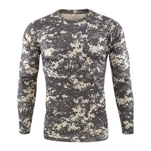Mens конструктора Спорт Tshirts Мода тонкий пуловер шеи экипажа Mens Tees Casual с длинным рукавом Камуфляж Печать Мужчины Одежда