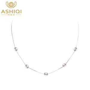 Ashiqi vero pendente collana di perle d'acqua dolce naturale per le donne con gioielli in argento 925 catena di moda Y19061203