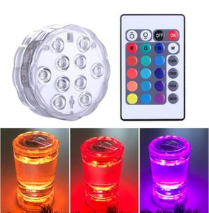 New 10 Led Remote Controlled RGB Submersible Light Battery Operated Underwater Night Lamp Outdoor Vase Bowl Garden Party Decoration DHL Free