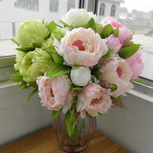 Chefes decoração decoração Outono Início de casamento Mariage Rose DIY 7 Peony Flower Bouquet falsificados plantas Peony flores artificiais